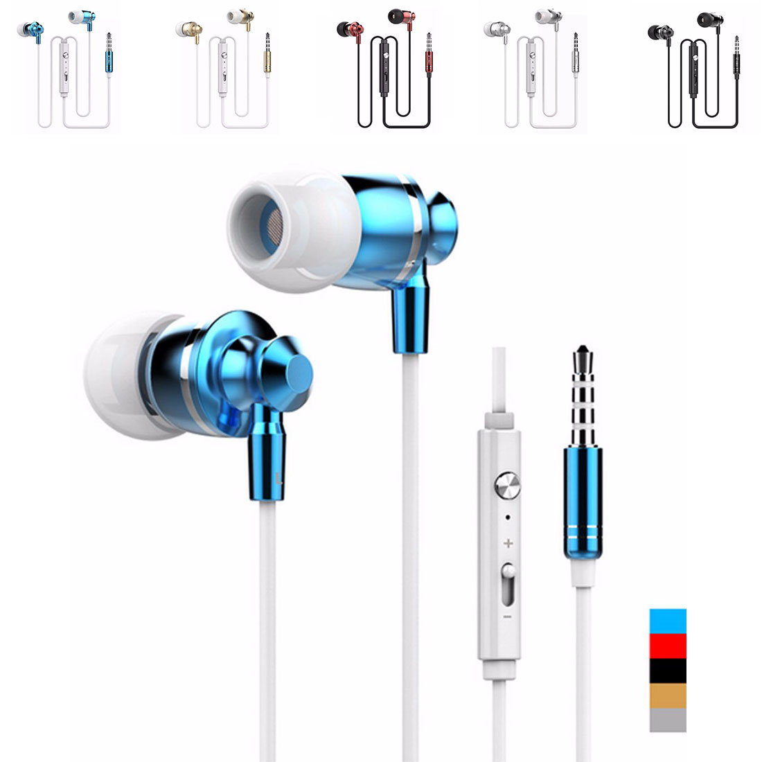 2016 Hot Selling High Quality Metal 3.5mm Earphones Headphone Super Bass Stereo Earbuds with Mic for mobile phone MP3 MP4 M300 hot high quality sports stereo earphones with mic 3 5mm universal use for mobile phones mp3 mp4 gg11101
