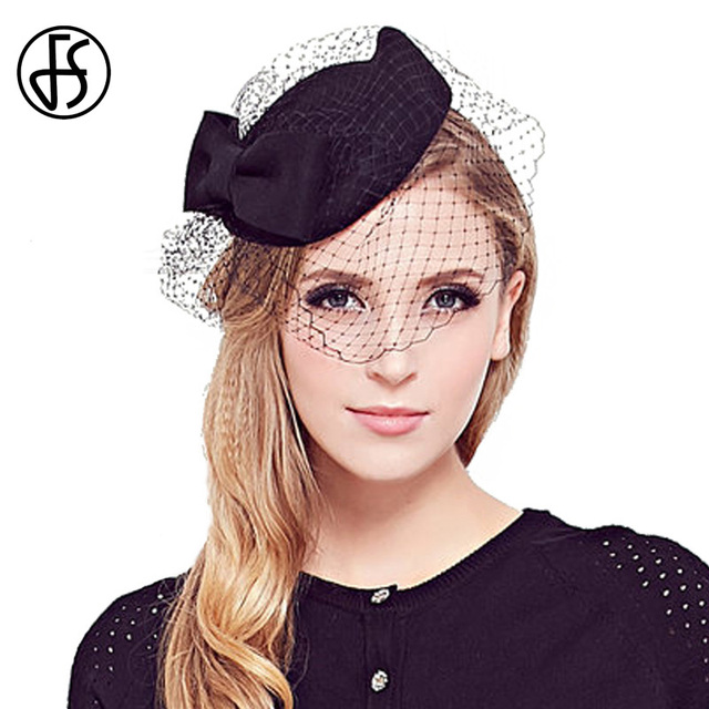 FS Vintage Busur Fedoras Fedora Wanita 100% Wol Dengan Kerudung Topi Gereja  Wanita Bangsawan Elegan c65bd44e23