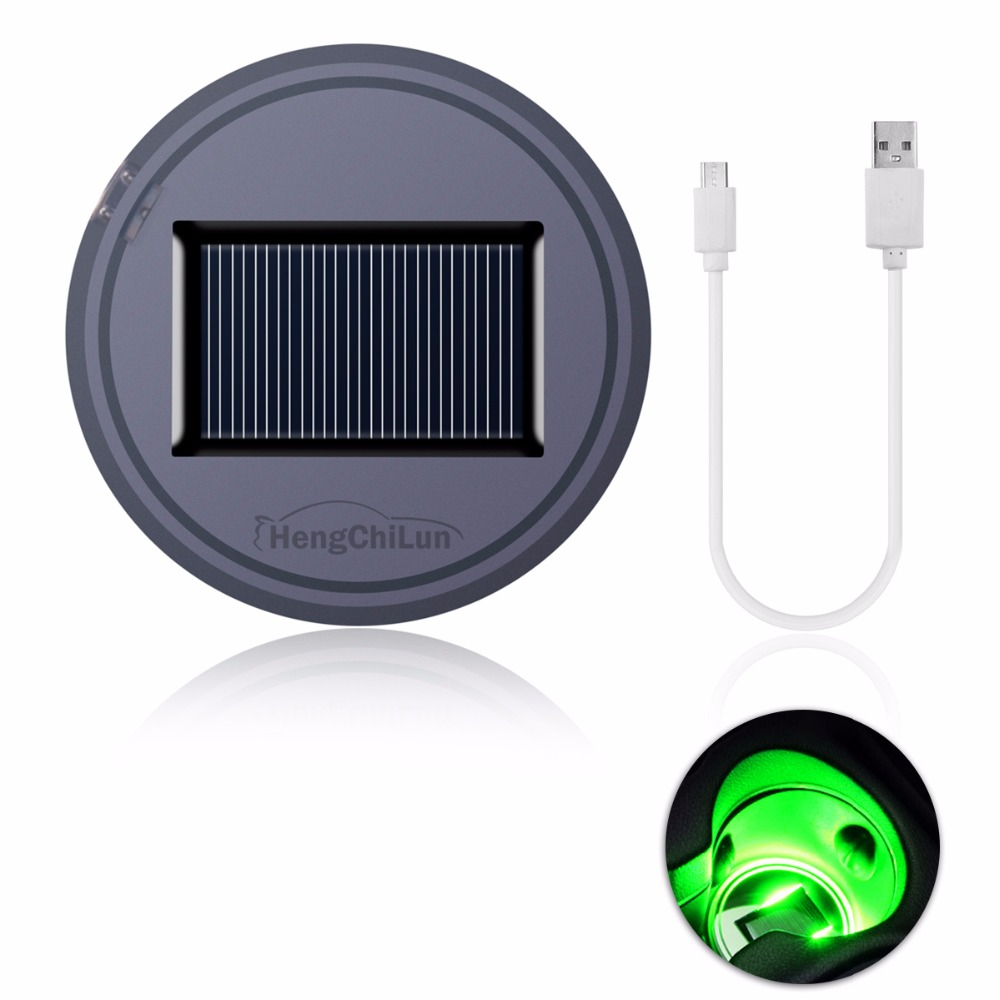 1 Set Car Styling Anti-Slip Mat Waterproof Solar LED Light Cup Holder Mat Pad Bottle Universal Pad Bottle Drinks Coaster square stainless steel cup mat coasters set w stand holder silver 4 pieces cup mat
