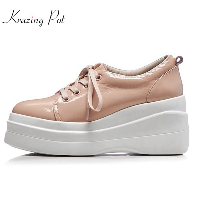 Krazing Pot genuine leather shoes women round toe lace up fashion women pumps superstar high heels wedgs increased shoes L96 fashion genuine leather shoes woman pumps 2016 new sexy wedges high heels round toe lace up women casual party shoes size 34 39