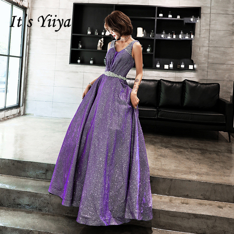 It's YiiYa   Prom     Dress   Bling Crystal V-neck Long Purple Party   Dresses   Pleat Sleeveless Lace Up Elegant A-line Formal Gowns E072