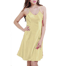 Women's Sexy BabyDoll Satin Silk Lingerie Chemise Mini Night Dress Yellow Size S