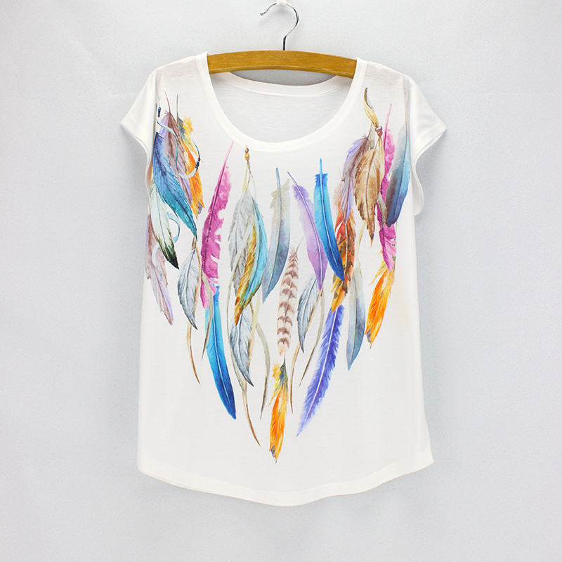 Fashion colorful feather printing t shirt women 2016 new Girl t shirts design