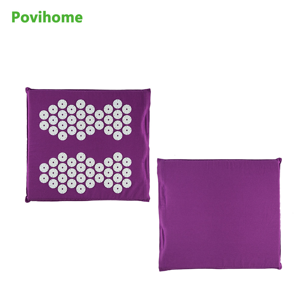 Povihome Acupressure Foot Care Colored Plastic Walk Pads Square Healthy Foot Massage Mat Yoga Cushion Health Care C1200 reflexology walk cobblestone pain relief foot massager tcm foot acupoint massage relax mat pad square cushion beauty health care