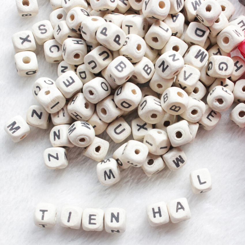 3/8x3/8 With Crude Wood For Diy Material Findings Reliable Performance Expressive Log Wooden Beads 8x8mm Natural Alphabet/ Letter Cube Wood Beads 10x10mm