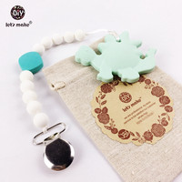 Baby Teether Dinosaur Shaped Pacifier Clip Holder Silicone Beads Safe For Teething Toddler Wearing Baby Rattles