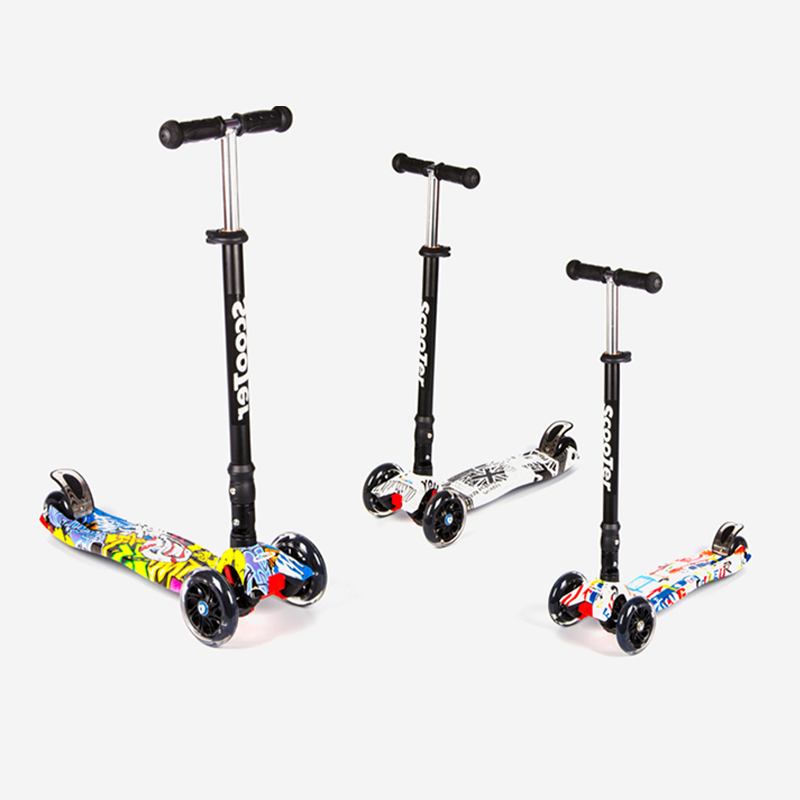 Scooter 4 Wheel Graffiti Widened Folding Flash Swing Car Lifting 2-16 Years Old Baby Stroller Ride Bike Vehicle Children Toys new the european ce standards pp plastic baby walkers scooters musical scooter for children 2 years of age or older