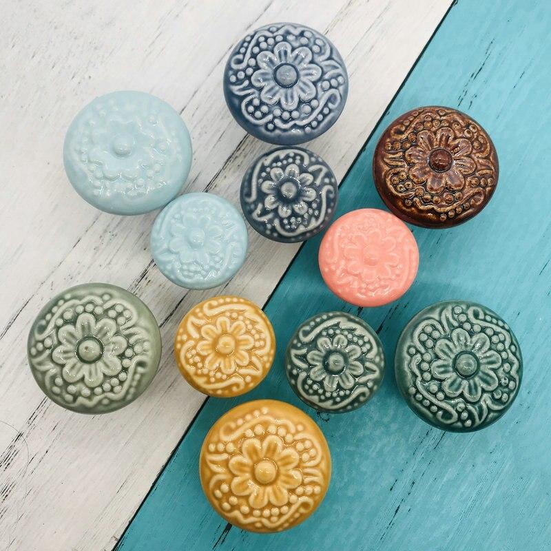 Mix Vintage Look Emboss Design Ceramic Knobs Door Handle Colorful Cabinet Drawer Cupboard Pull Kitchen Furniture Hardware 1pcs(China)