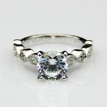 1 Carat Esdomera Moissanites 14k White Gold Vintage Accents Engagement Ring Lab Grown Diamond Fine Jewelry