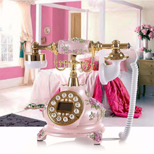 Розовое элегантное винтажное украшение для дома, сада старомодный телефон
