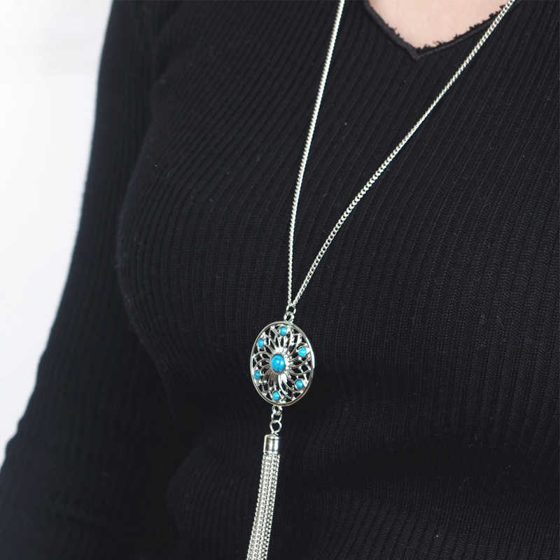 Etnico nappa Collane donna mosaico di pietra naturale lunga collana di Maglia cava personalità blu pietra abbellimento 70 centimetri lunga catena