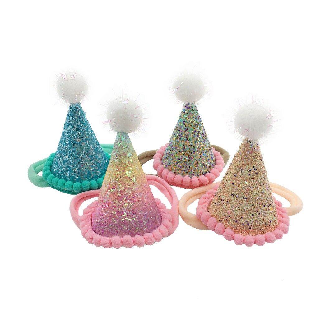 24pc lot Newborn Birthday Party Headband Princess Tiara Crown headband Kids Pom Pom Headband Glitter Crown