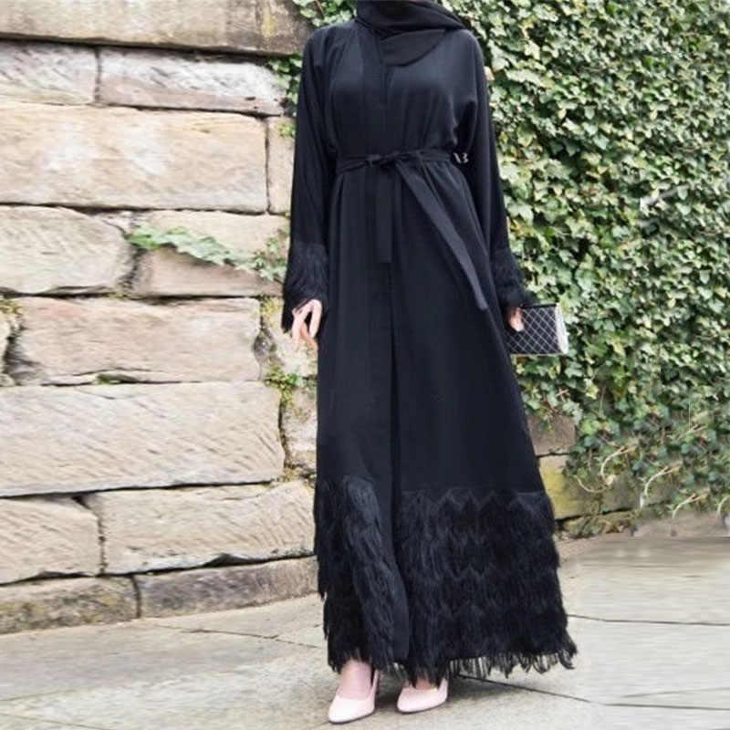 2019 新マキシドレススタイリッシュなエレガントで高貴なドバイカーディガンローブイスラム教徒毛深いレースローブドレスエレガントな女性のパーティードレス