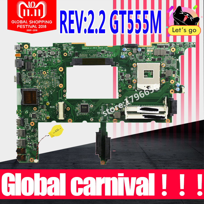 N75SF Motherboard GT555M REV:2.2 RAM For ASUS N75SF N75SL N75S laptop Motherboard N75SF Mainboard N75SF Motherboard test 100% OK цена