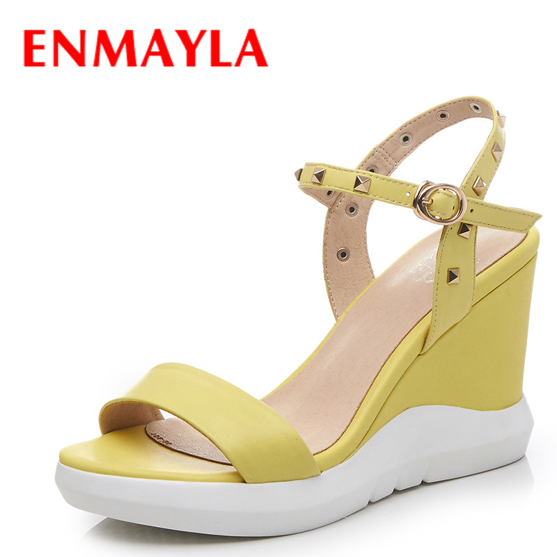 ENMAYLA Summer Open Toe Wedges Heels Sandals Women High Heels Ladies Platform Sandals Shoes Woman Rivets Yellow Blue Shoes in High Heels from Shoes