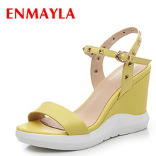 цена на ENMAYLA Summer Open Toe Wedges Heels Sandals Women High Heels Ladies Platform Sandals Shoes Woman Rivets Yellow Blue Shoes