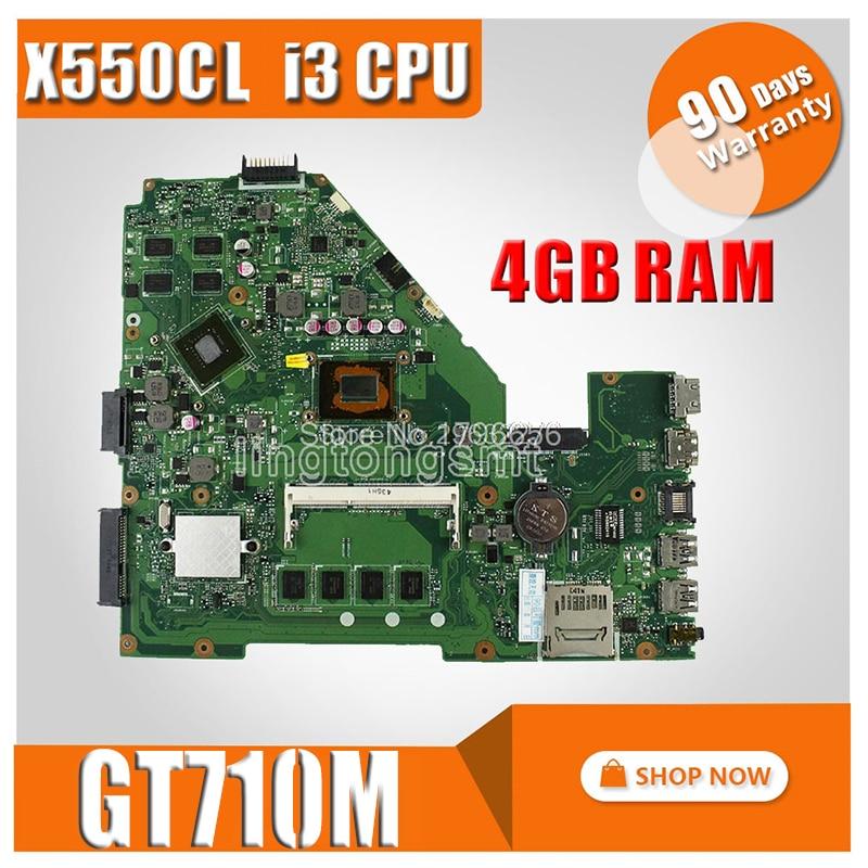 I3 CPU GT710M 4GB RAM X550CC Motherboard REV:2.0 For ASUS Y581C X552C X550C X550CL A550C K550C Laptop Motherboard Mainboar