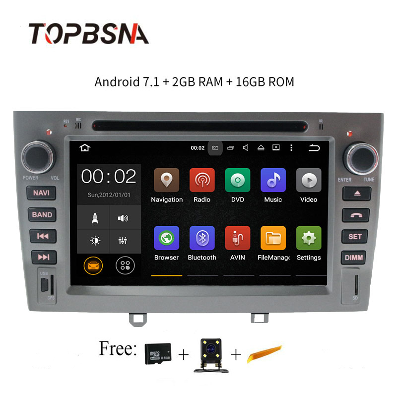 TOPBSN 2 din 1024*600 4 Core Android 7.1 Car DVD For Peugeot 308 408 308SW GPS Navigation Automotive multimedia Mirror-link wifi trw automotive jts215 premium stabilizer link