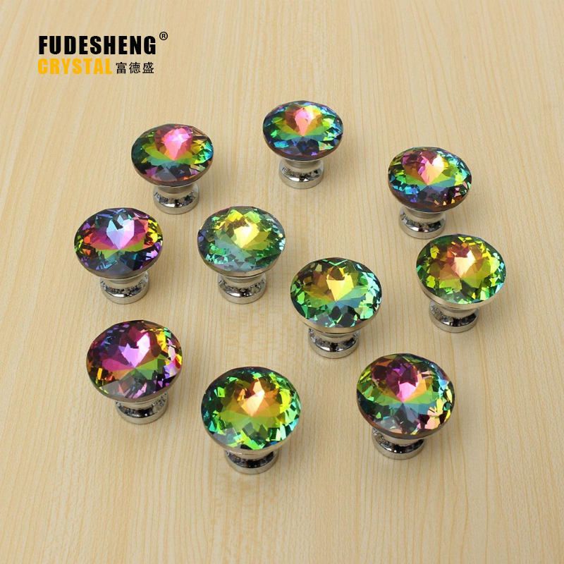 2016 Hot Selling 10 Pcs Multicolors Crystal Glass Clear Cabinet Knob Drawer Pull Handle Kitchen Door Wardrobe Hardware SJ-1007