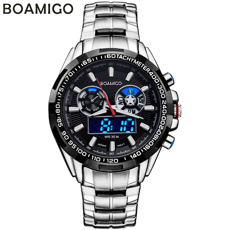 BOAMIGO brand men sport watches analog digital dual display LED quartz watches waterproof steel wristwatches relogio