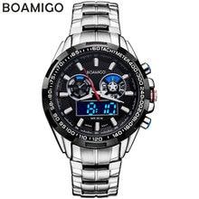 BOAMIGO марка мужчины спортивные часы аналоговый цифровой двойной дисплей кварцевые часы водонепроницаемые стали наручные часы relogio masculino