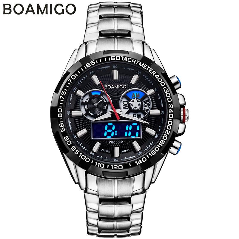 Prix pour BOAMIGO marque hommes sport montres analogique numérique double affichage LED montres à quartz étanche en acier montres relogio masculino