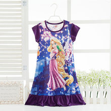 Disney princess summer night dress children pajama children home clothing baby cartoon Frozen Elsa nightgown girl sleepwear robe(China)