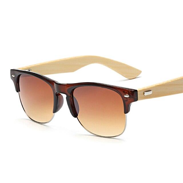 ef53a55f61 Medio Marco de Metal Retro gafas de Sol Mujer Gafas de Sol de Madera Gafas  Mujeres