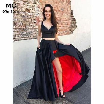 2019 Black Prom Dresses Long Two Pieces Gown V-Neck Straps Hi Lo Gown Vestido Longo Formal Evening Party Dress for Women