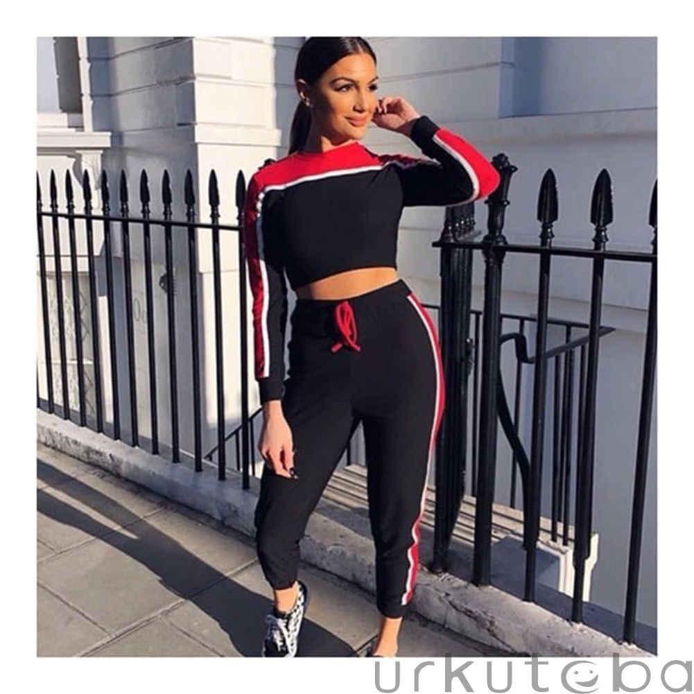 Rahat kadın Eşofman Tayt Spor Spor Takım Elbise Kadın Giyim Egzersiz Iki Parçalı Tulum Uzun Kollu Kırpma Üst