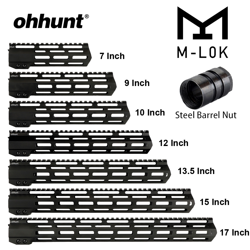 ohhunt Tactical AR15 Free Float M-LOK Handguard 7 9 10 12 13.5 15 17'' Picatinny Rail with Steel Barrel Nut for Scope image