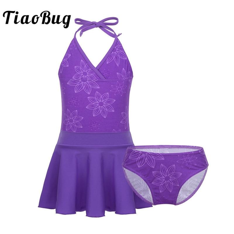 TiaoBug Kids Teens Purple Halter Tankini Girls Tops With Swim Briefs Skirt Swimwear Swimsuit Child Beach Bathing Suit Bikini Set