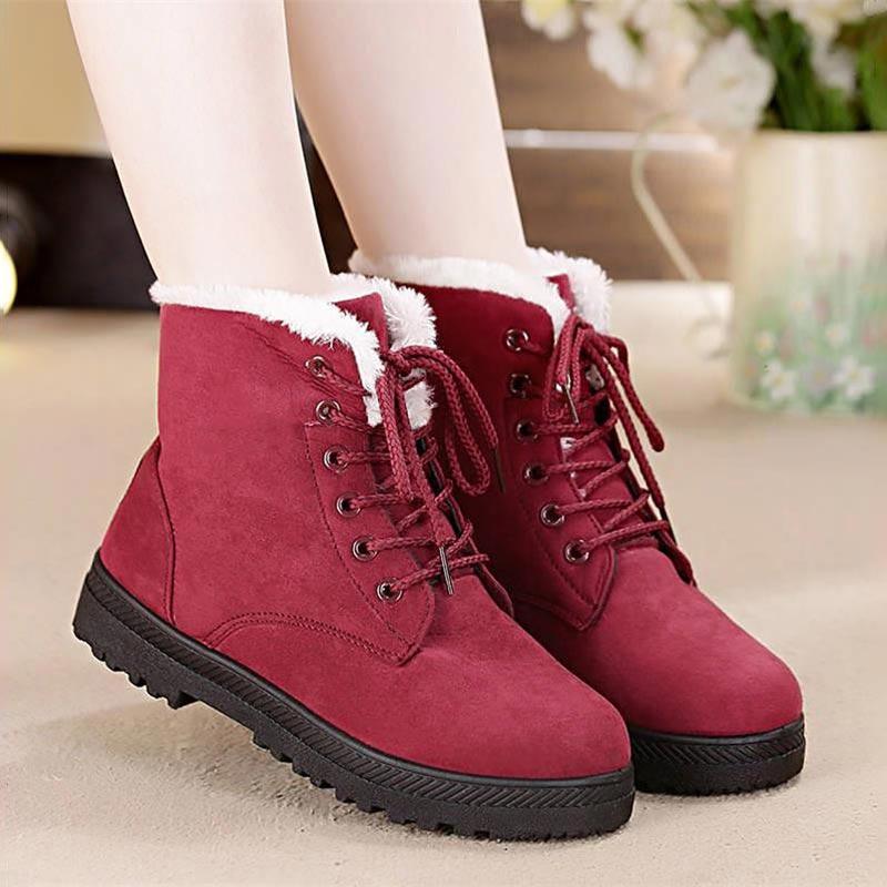 Botas de nieve 2019 cálido Piel de felpa plantilla mujeres botas de invierno tacones cuadrados flock botines zapatos de mujer zapatos de invierno con cordones Mujer