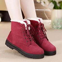 Women's snow boots, warm, fur, plush, insole, square heels flock ankle boots/lace-up winter shoes