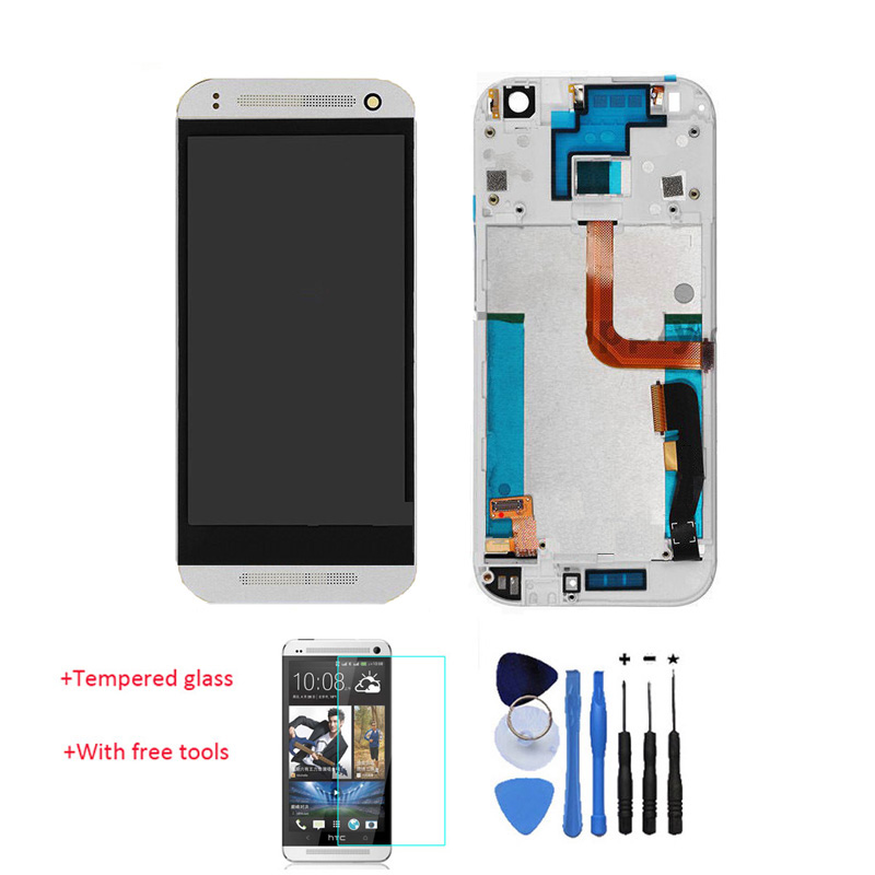 OEM 100% Test LCD Display Touch Screen Digitizer with Front Frame For HTC One Mini 2 M5 M8 Mini White +Tools Tempered Glass