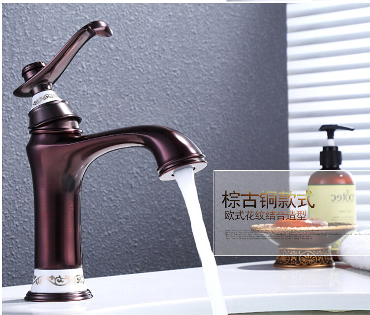 Fashion Europe style high quality brass gold finished bathroom hot and cold sink faucet basin faucet high quality and hot sale100