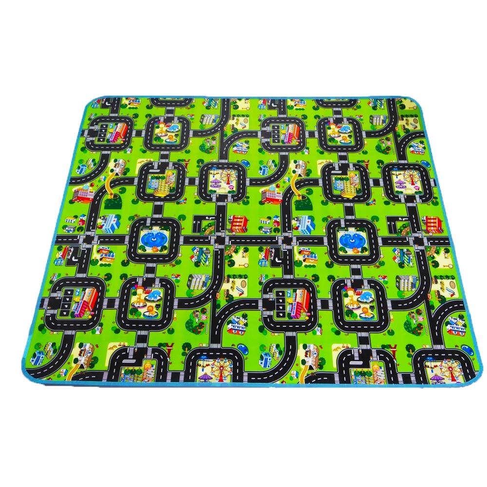 Толстое городское одеяло, 4 размера, детский коврик для ползания, коврик из вспененного этилвинилацетата для лазания, зеленая дорога, Детска...