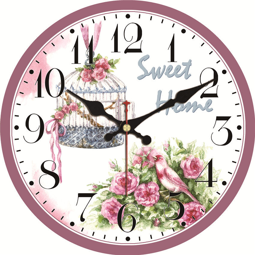 Shabby Chic Clock Pink Flower Silent Home Office Cafe Kitchen Bar Decor Home Saat Vintage Large Art Wall Clock No Ticking Sound