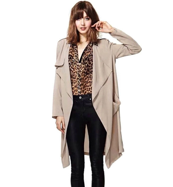 Brief British Summer Autumn Women Long Trench Coat Casual Long Sleeve Cloak Cardigan Abrigos Mujer Casaco Feminino J66