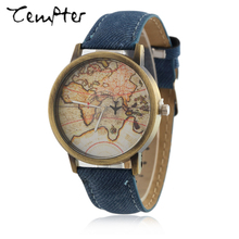 2017 TEMPTER New Fashion Global Travel By Plane Map Men Women Watches Casual Denim Quartz Watch Casual Sports Watches for Men