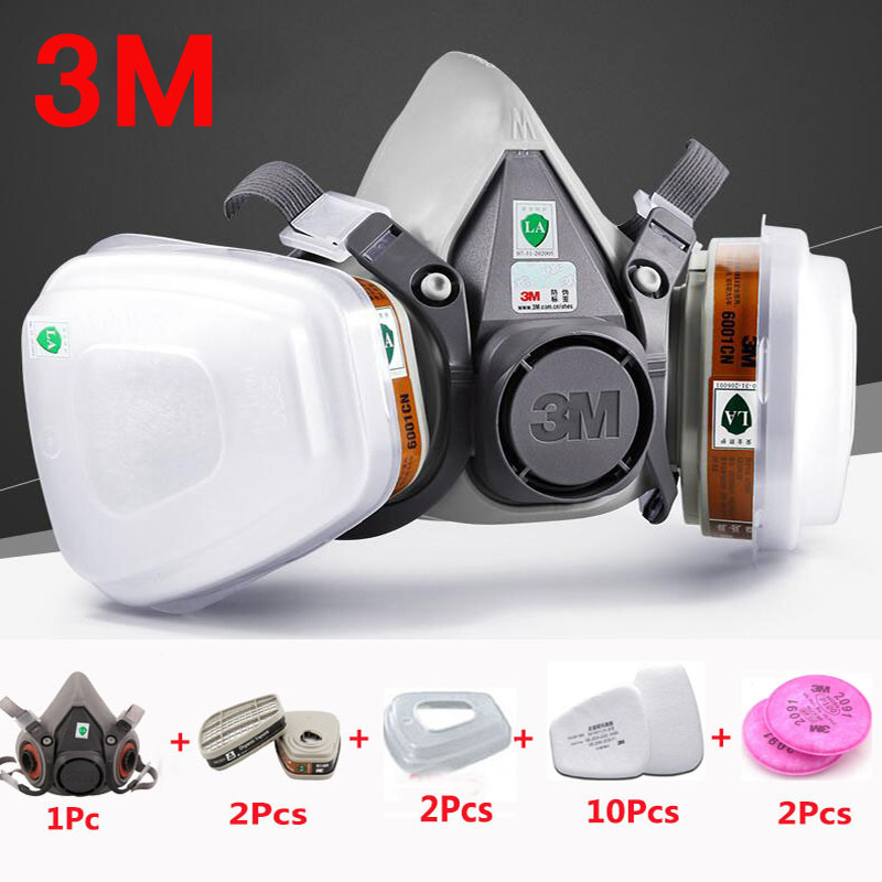 3M 6200 Half Face Painting Spraying Respirator Gas Mask 17 In 1 Suit Safety Work Filter Dust Mask 15 in 1 suit painting spraying 3m 6200 half face gas mask respirator chemcial industry anti dust work respirator mask