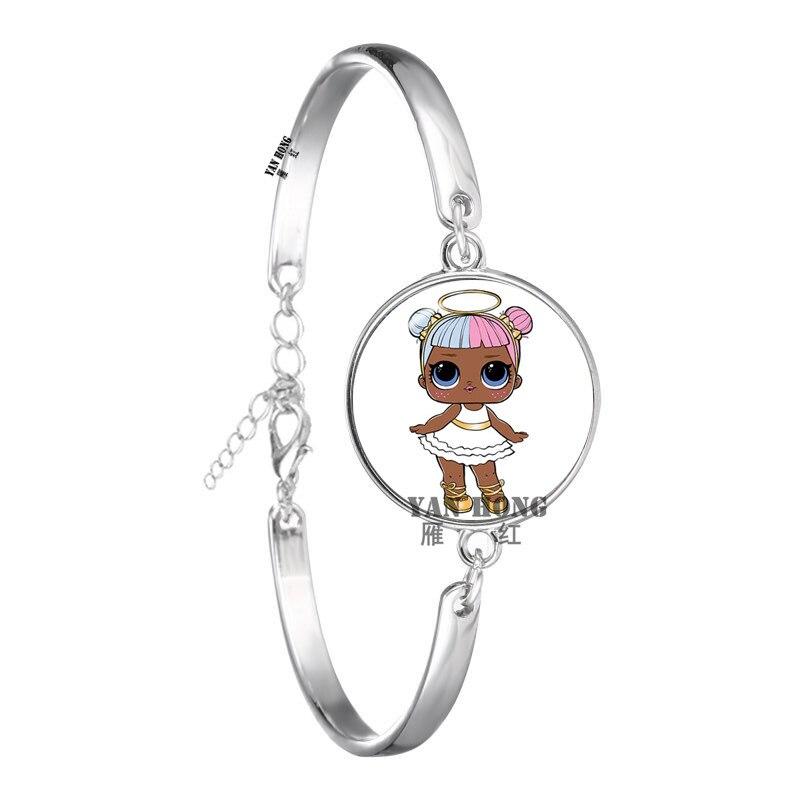 Красивый кукольный стеклянный браслет 20 мм стеклянный купол мультфильм ювелирные изделия круглый стеклянный браслет детский очаровательный подарок - Окраска металла: 23