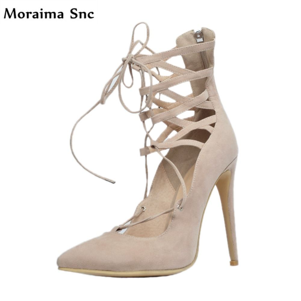 Moraima Snc Newest sexy women sandals pointed toe Ankle cross-tied vintage velvet thin high covered heel party shoes moraima snc newest sexy women black string bead concise type sandals open toe thin high heel ankle strap hook solid party shoes