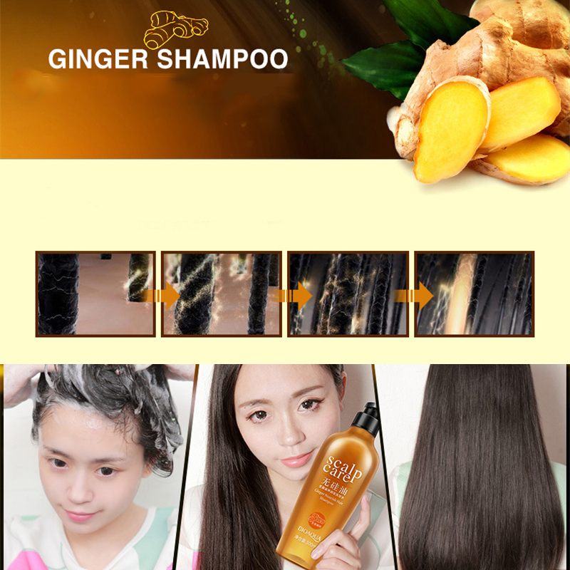 BIOAQUA Natural Ginger Shampoo Without Silicone Oil Deep Cleaning Dandruff Nourishing Oil-Control Anti Itch Anti Dandruff 300ML