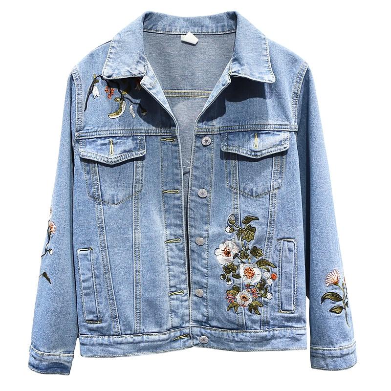 Femmes Denim manteau printemps automne broderie fleur Bomber veste nouvelle mode loisirs grande taille 3XL Baseball Outwear femme