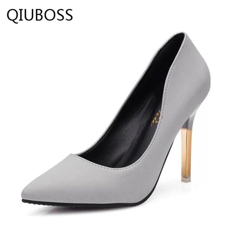 QIUBOSS elegante mujer bombas punta estrecha tacón mujeres 2018 - Zapatos de mujer - foto 2