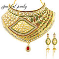 Vintage Design Gold India Pearl Necklace Lip Shape Crystal&Rhinestones Dance Ethnic Women Maxi Statement Necklaces & Pendant
