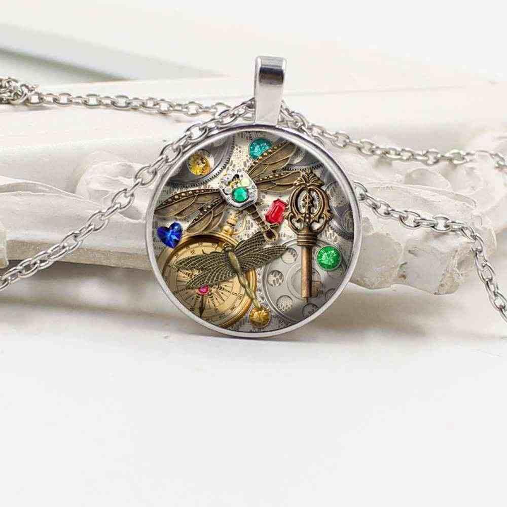 Новый Шарм Бабочка Ретро панк Стекло Круглый кулон свитер цепи цепочки и ожерелья ювелирные изделия подарок