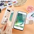 Dr. case de couro de luxo case para iphone 7 6 6 s princesa flores cat casos espelho em relevo pu carteira capa para iphone 6 6 s 7 plus