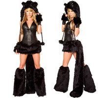 New Sexy Black Teddy Bear Costume For Adult Cat Girl Cosplay Costume Halloween Costumes For Women